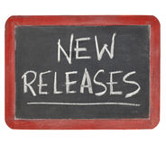 New releases blackboard sign Royalty Free Stock Image