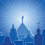 New religion. Social network Stock Image
