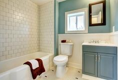 New remodeled blue bathroom classic. Classic simple blue bathroom with white tile Royalty Free Stock Photos