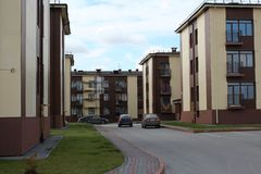 New residential apartment block in the residential area of Novosibirsk Novomarusino modern low-rise building stock photos
