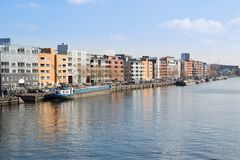 New residential area from Amsterdam along the harbor Royalty Free Stock Photos