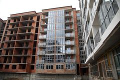 New residential area. Construction of a residential multi-storey building. royalty free stock photos