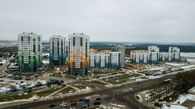 New residential area of multi-storey buildings stock image