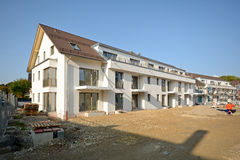 New residential building with outdoor facilities - Construction work near completion Royalty Free Stock Images