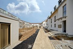 New residential building with outside facilities - Construction work near completion Stock Photography