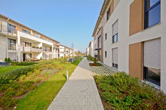 New residential building with walkway and outdoor facilities Stock Photography