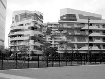 New residential buildings in Milan, Italy in black and white Stock Image