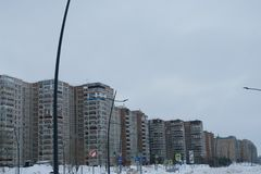 A new residential complex built specifically for the World Cup finals in football in Russia, Nizhny Novgorod. Former neighborhood Mescherskoye Lake has grown stock photography