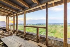 New residential construction home framing. Interior framing of a stock photos