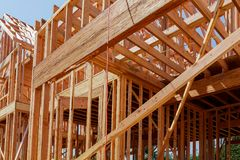 New residential construction home framing with roof view Royalty Free Stock Images