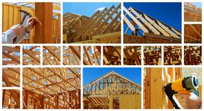 New residential construction home framing with roof view photo collage Royalty Free Stock Photography