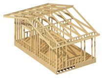 New residential construction home wood framing. Royalty Free Stock Images