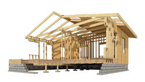 New residential construction home wood framing. Close-up look at the construction and all wood framing process of this new home.Three-dimensional image. Cartoon Royalty Free Stock Photos
