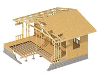 New residential construction home wood framing. Stock Photos