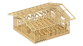 New residential construction home wood framing. Three-dimensional image of a wooden frame house Royalty Free Stock Images