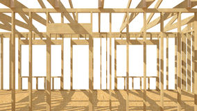 New residential construction home wood framing. Three-dimensional image of a wooden frame house Stock Images