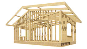 New residential construction home wood framing. Three-dimensional image of a wooden frame house Royalty Free Stock Photos