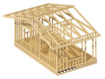 New residential construction home wood framing. Three-dimensional image of a wooden frame house Stock Photos