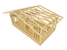 New residential construction home wood framing. Three-dimensional image of a wooden frame house Stock Photo