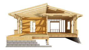 New residential construction home wood framing. Three-dimensional image of a wooden frame house Royalty Free Stock Photo