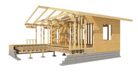 New residential construction home wood framing. Three-dimensional image of a wooden frame house Stock Photography