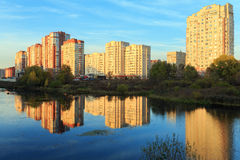 New residential district. Balashikha. New residential houses on the bank of the river Pekhorka. Balashikha, Moscow region, Russia Royalty Free Stock Images