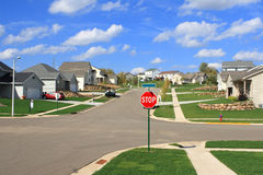 New Residential Homes in a Suburban Subdivision Stock Photos