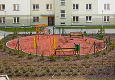 New residential with playground Stock Photos