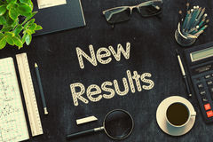 New Results Concept on Black Chalkboard. 3D Rendering. Royalty Free Stock Image