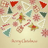 New retro background with eating Christmas toy Stock Images