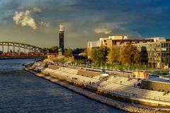 New Rhine Embankment in Cologne royalty free stock photo