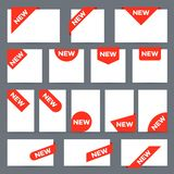 New ribbon labels. Corner banner, new tag label and present buttons vector isolated set royalty free illustration