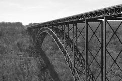 New River Gorge Bridge (black and white) royalty free stock images