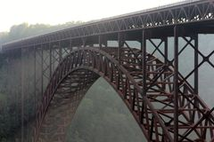 New River Gorge Bridge in a Morning Fog stock image
