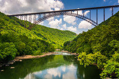 The New River Gorge Bridge, seen from Fayette Station Road, at t Stock Photo