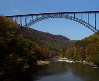 New River Gorge Bridge, WV on Fall Day Royalty Free Stock Photo
