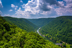The New River Gorge  seen from the Canyon Rim Visitor Center Ove Stock Photo