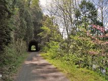 New River Trail Tunnel. A tunnel along the New River Trail in southern  Virginia.  The trail is popular with hikers, bikers and horseback riders Royalty Free Stock Images