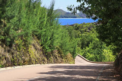 New road around the hotel Raffles Praslin Royalty Free Stock Images