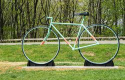 New Road Bike Sculpture on Mill Mountain. Roanoke, Virginia USA, April 20th: New Road Bike Statue located at the entrance to Mill Mountain Park spur on Mill stock photo
