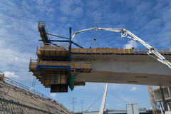 New road bridge being built. New part is hanging in the air Royalty Free Stock Photo