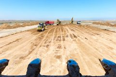 New road construction in process. Royalty Free Stock Image