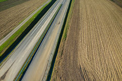 New road construction site aerial view Royalty Free Stock Photography
