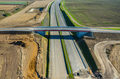 New road construction site aerial view Stock Image