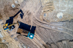 New road construction site aerial view Royalty Free Stock Photo