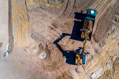 New road construction site aerial view Stock Photos