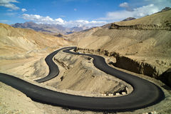 The new road in the Himalayas mountains Stock Photography