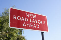 New Road Layout Sign Stock Photography