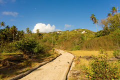 A new road leading to a building project at spring on bequia Stock Image