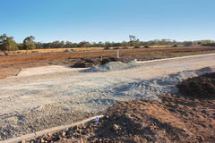 New road construction. New road being formed in a new realestate subdivision in australia Royalty Free Stock Photos